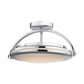 Alico Quincy 1-light LED Semi Flush in Chrome and Paint White Glass