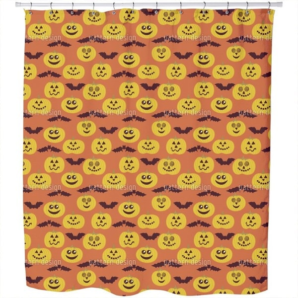 Partytime At Jack O Lantern and Bat Shower Curtain