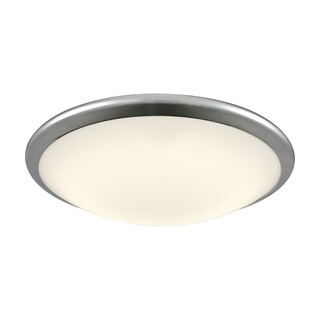 Alico Clancy Large Round LED Flush Mount in Chrome and Opal Glass