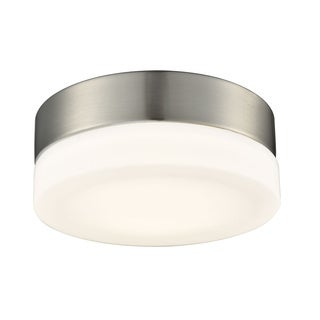 Alico Holmby Small 1-light Round Flush Mount in Satin Nickel with Opal Glass