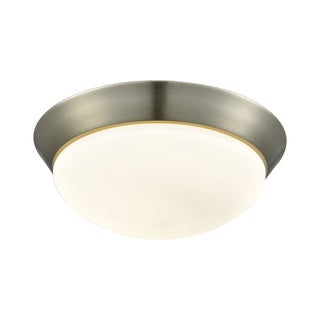 Alico Contours Large 1-light LED Flush Mount in Satin Nickel and Opal Glass