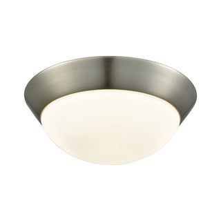 Alico Contours Medium 1-light LED Flush Mount in Satin Nickel and Opal Glass