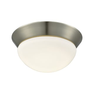 Alico Contours Small 1-light LED Flush Mount in Satin Nickel and Opal Glass