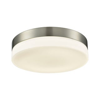 Alico Holmby Large 1-light Round Flush Mount in Satin Nickel with Opal Glass