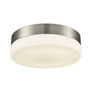 Alico Holmby Medium 1-light Round Flush Mount in Satin Nickel with Opal Glass