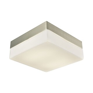 Alico Wyngate Medium 2-light Square LED Flush Mount in Satin Nickel and Opal Glass