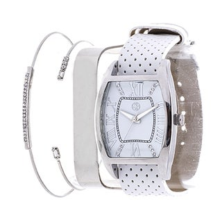 Fortune NYC Arm Candy Ladie's Fashion Silver Square Case / Navy Blue Leather Strap Watch with a Set of 2 Bracelets - White