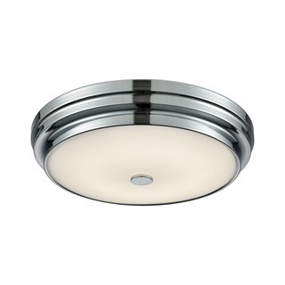 Alico Garvey Small Round LED Flush Mount in Chrome and Opal Glass
