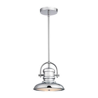 Alico Charleton 1-light LED Pendant in Chrome and Paint White Glass