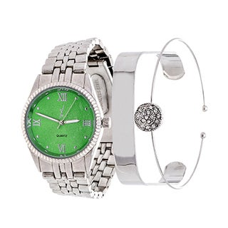 Fortune NYC Arm Candy Boyfriend Arm Candy Ladie's Fashion Silver Case / Green Dial with Silver Strap Watch