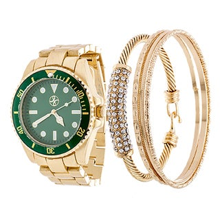 Fortune NYC Arm Candy Boyfriend Arm Candy Ladie's Fashion Gold Case / Green Dial with Gold Strap Watch