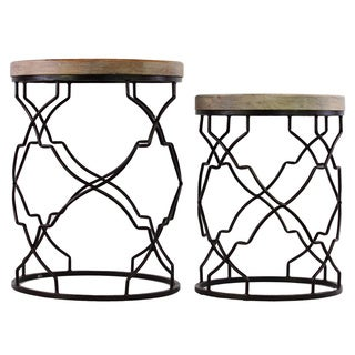 Metal Round Nesting Accent Table with Recessed Wood Top and Round Base Coated Finish Black (Set of 2)