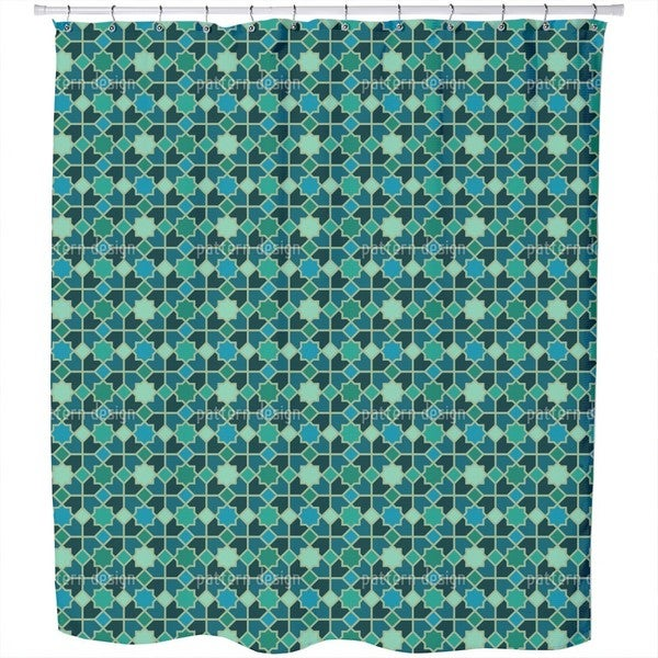 Morocco Teal Shower Curtain
