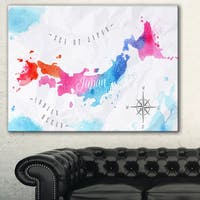 Designart 'Japan Map Watercolor' Canvas Wall Art Print