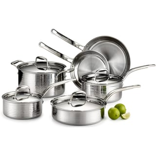 Lagostina Q553SA64 Martellata Tri-Ply Hammered 10-Piece Stainless Steel Cookware Set