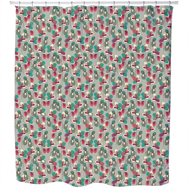 Lucky Flowers Grey Shower Curtain