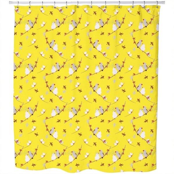 Lovebirds Yellow Shower Curtain