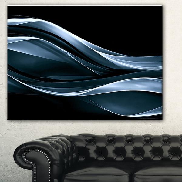 Designart 'Fractal Lines Blue in Black' Abstract Digital Art Canvas Print