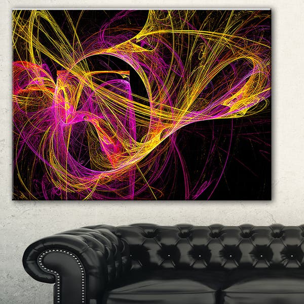 Shop Black Friday Deals On Designart Wisps Of Smoke Yellow In Black Abstract Digital Art Canvas Print Overstock 11616504