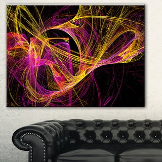 Designart 'Wisps of Smoke Yellow in Black' Abstract Digital Art Canvas Print