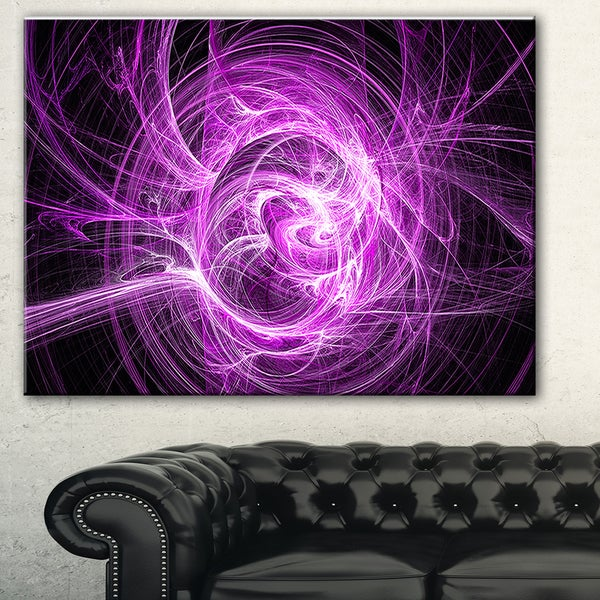 Designart 'Wisps of Smoke Purple in Black' Abstract Digital Art Canvas Print