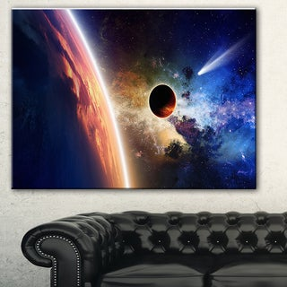 Designart 'Planet and Comet in Space' Modern Spacescape Canvas Print