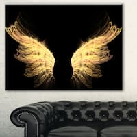Designart 'Hell Gold Wings' Abstract Digital Art Canvas Print