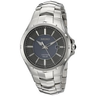 Seiko Men's SNE411 Stainless Steel Solar Coutura Watch with a Grey Dial and 100M Water Resistance