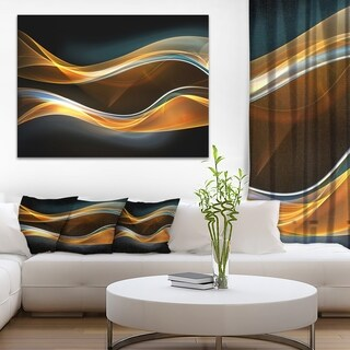 Designart '3D Gold Waves in Black' Abstract Digital Art Canvas Print (As Is Item)