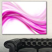 Designart 'Pink Abstract Waves' Abstract Digital Art Canvas Print