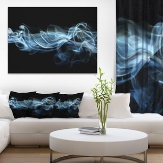 Designart 'Blue Smoke in Black' Abstract Digital Art Canvas Print