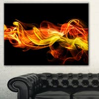 Designart 'Vibrant Yellow Red Waves' Abstract Digital Art Canvas Print
