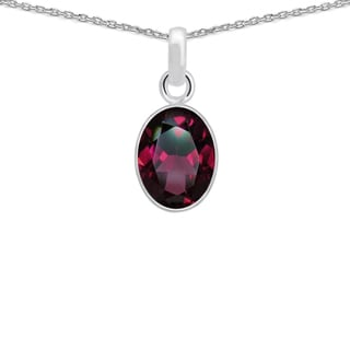 Orchid Jewelry 925 Sterling Silver 3ct TGW Genuine Garnet Necklace