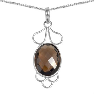 Orchid Jewelry 925 Sterling Silver 13ct Bezel-set Smoky Quartz Necklace