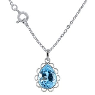 9 9 Carat Blue Topaz Sterling Silver Pendant Necklace For Girls Womens