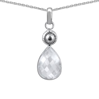 Orchid Jewelry 925 Sterling Silver 6.40ct TGW Genuine WhiteTopaz Necklace