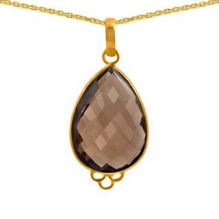 Orchid Jewelry 18k Gold Over Sterling Silver 24ct Bezel-set Smoky Quartz Pendant