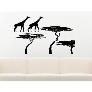Safari Giraffe Trees Wall Art Sticker Decal