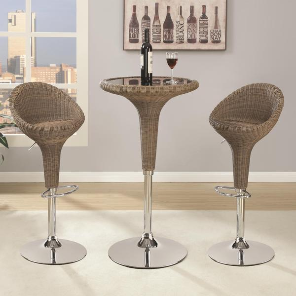 3 Piece Bar Stool Set: Shop Silverdore 3-piece Adjustable Rattan Bar Table And