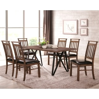 Mirabelle Mid-Century Industrial Rustic Designed Dining Set