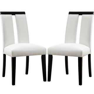 Prinston Mid Century Modern Design White Parson Chairs (Set of 2)