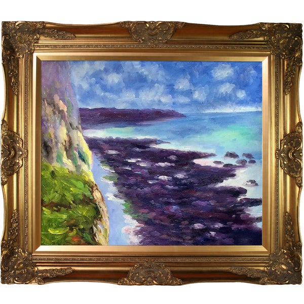 Claude Monet 'Cliff near Dieppe' Hand Painted Canvas Art