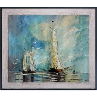 Justyna Kopania 'Boats' Hand Painted Canvas Art