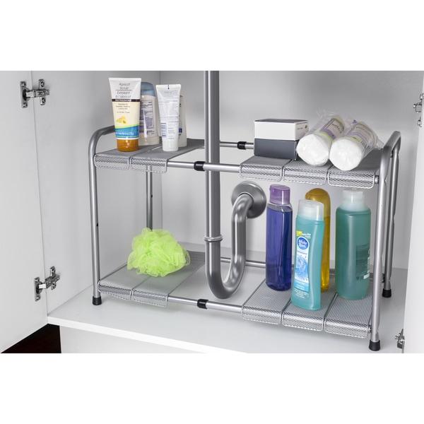 Home Basics Grey 2-tier Adjustable Cabinet Organizer