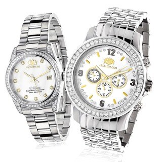 Luxurman His and Hers 4ct TDW Diamond Watch Set