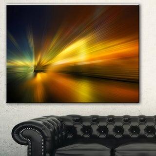 Designart 'Blue Over Gold Texture' Abstract Digital Art Canvas Print