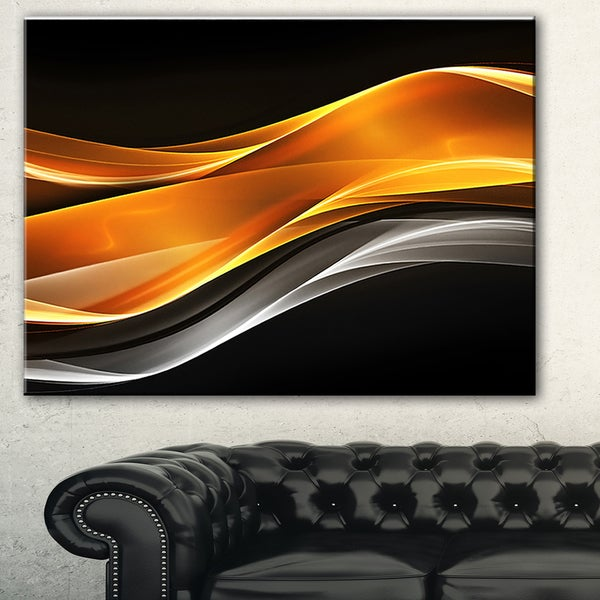 Designart 'Gold Pink Inward Waves' Abstract Digital Art Canvas Print