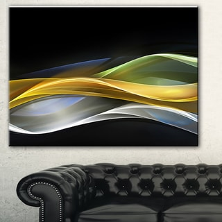 Designart 'Gold Silver Straight Yellow Lines' Abstract Digital Canvas Print