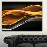 Designart 'Gold Silver Inward Lines' Abstract Digital Art Canvas Print