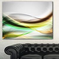 Designart 'Abstract Green Yellow Waves' Abstract Digital Art Canvas Print